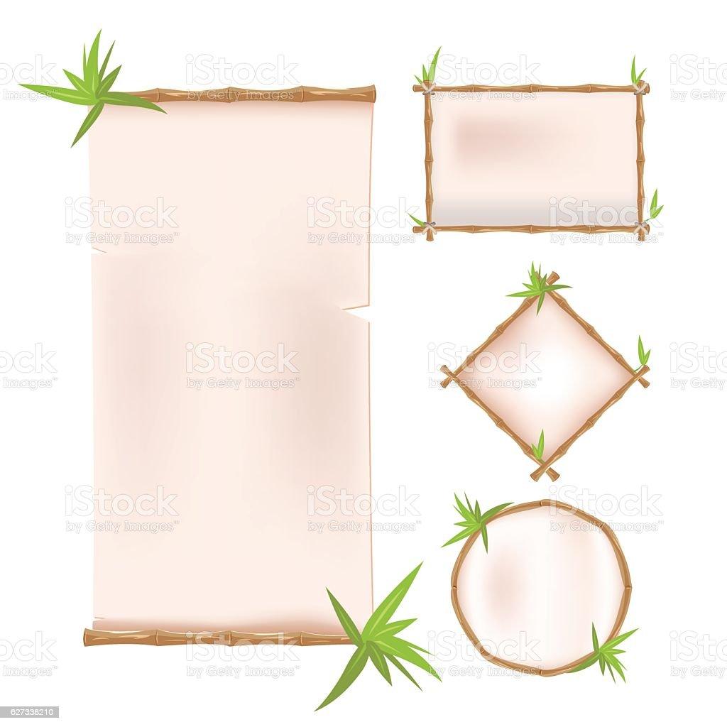 Bamboo Border Frame Template Design Vector vector art illustration