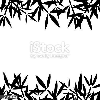 Bamboo branches, leaves black silhouettes borders,  frame isolated on white background