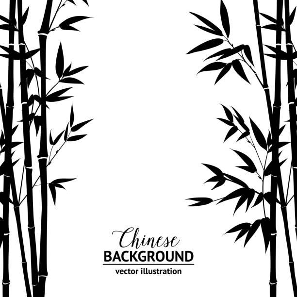 Bamboo bush over white vector art illustration