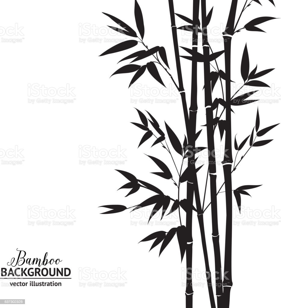 Bamboo bush vector art illustration