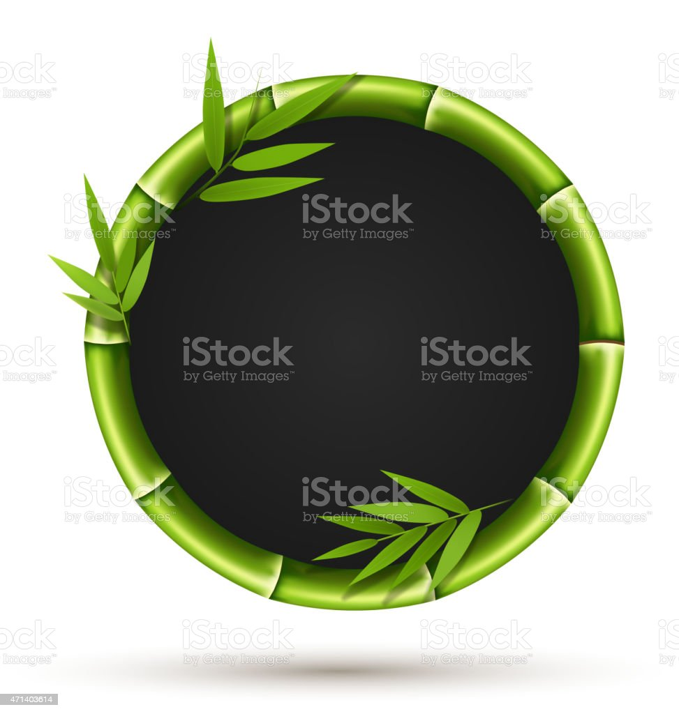 Bamboo circle frame with leafs isolated on white vector art illustration