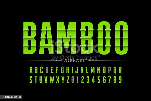 Bamboo style font design, alphabet letters and numbers vector illustration