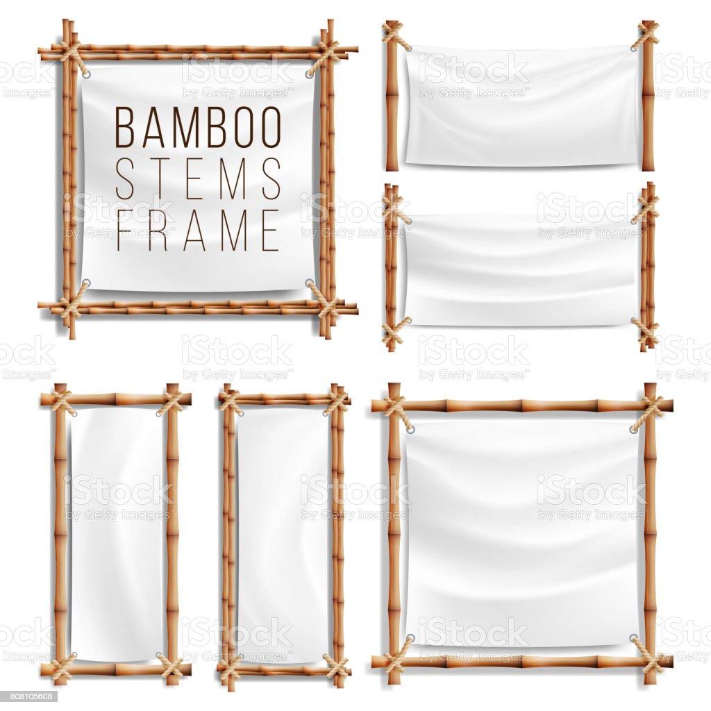 Ilustración de Bambú Marco Vector Set Con Lona Marco De Madera De ...