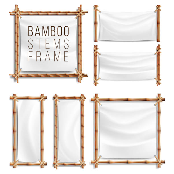 Bamboo Frame Set Vector With Canvas. Wooden Frame Of Bamboo Sticks Swathed In Rope. Banner Template vector art illustration