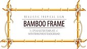Bamboo frame template for tropical signboard with ropes and copypaste