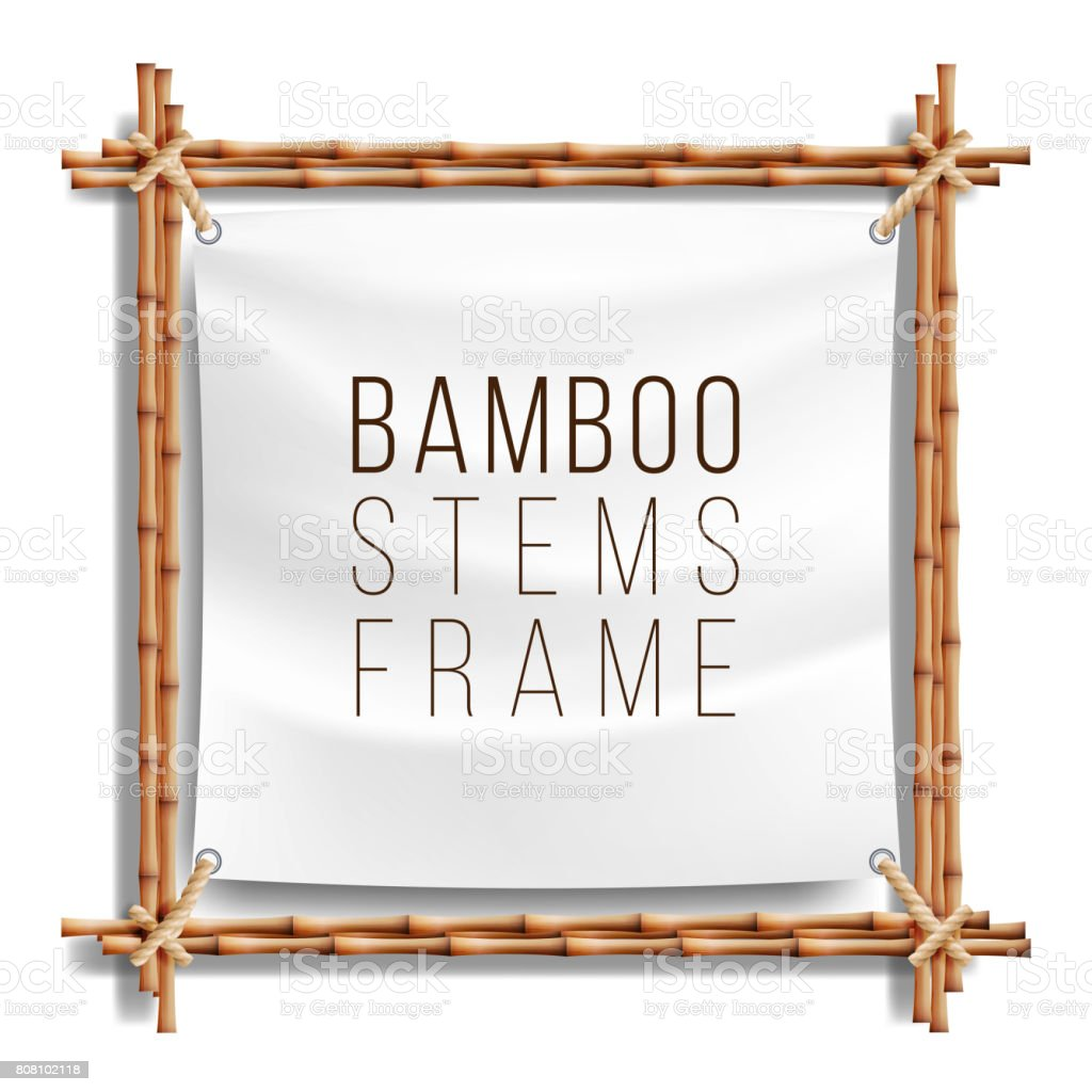 Bamboo Frame Template Vector. Good For Tropical Signboard. Empty Canvas For Text. Realistic Illustration vector art illustration