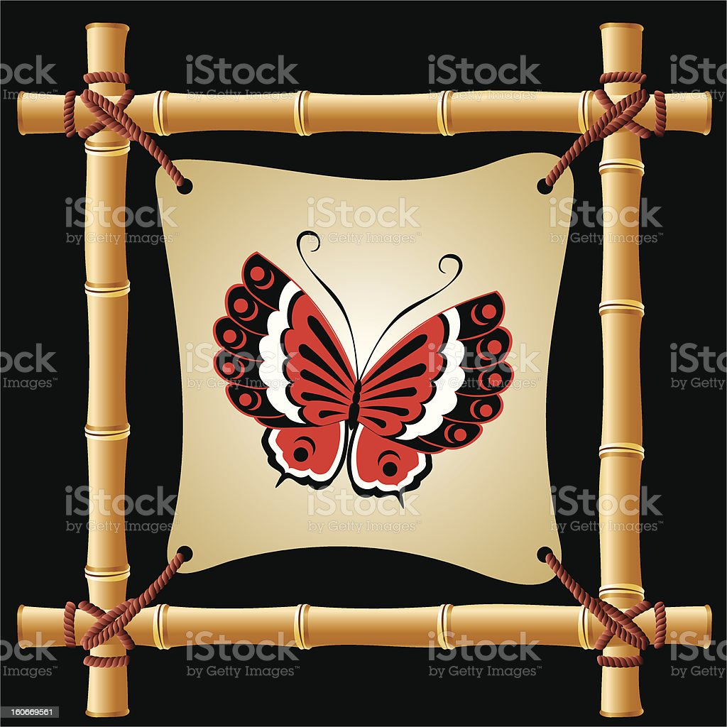 bamboo frame with butterfly royalty-free stock vector art