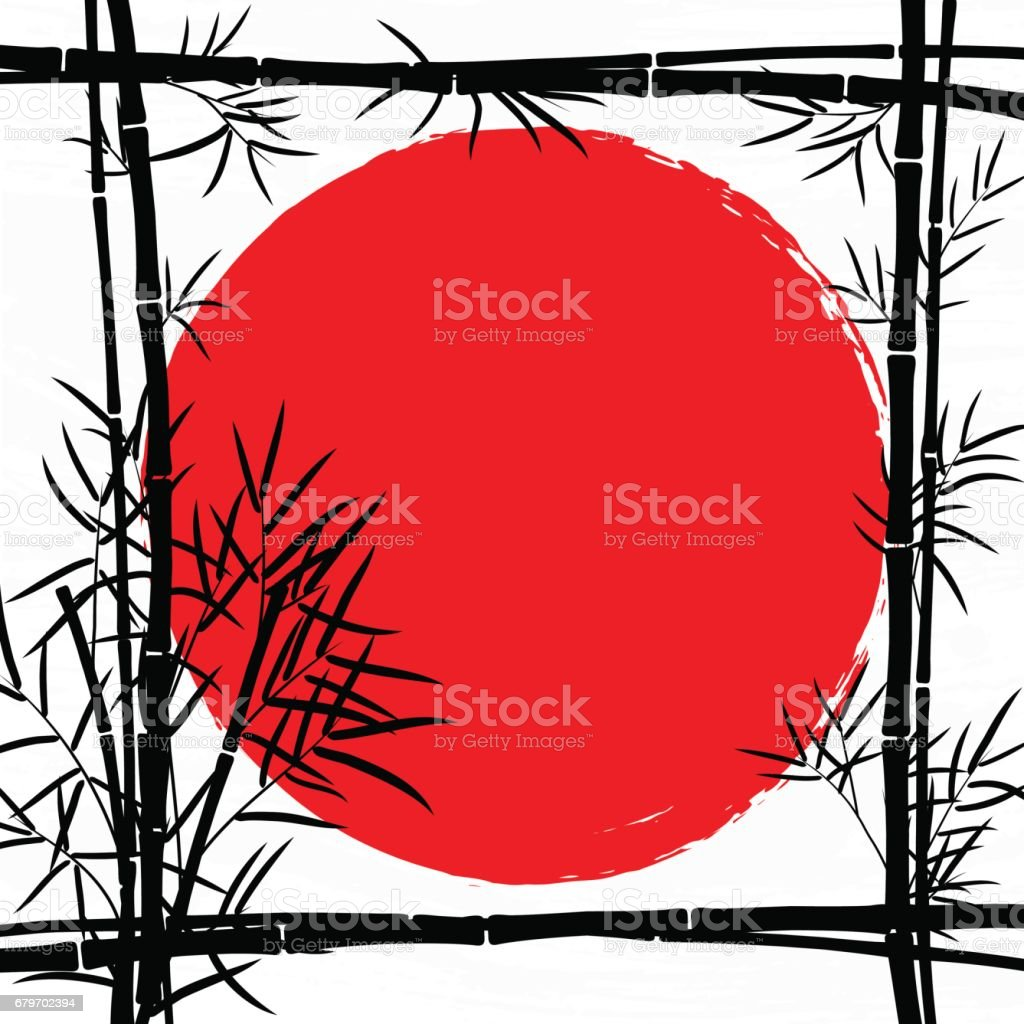 Bamboo frame with leaves and space for your text. vector art illustration