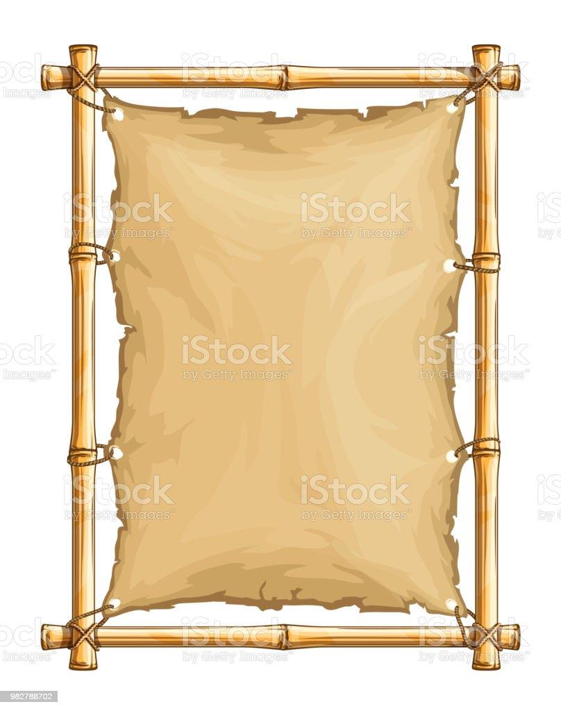 Bambusrahmen Mit Alten Zerrissenen Textil Tuch Stock Vektor Art und ...