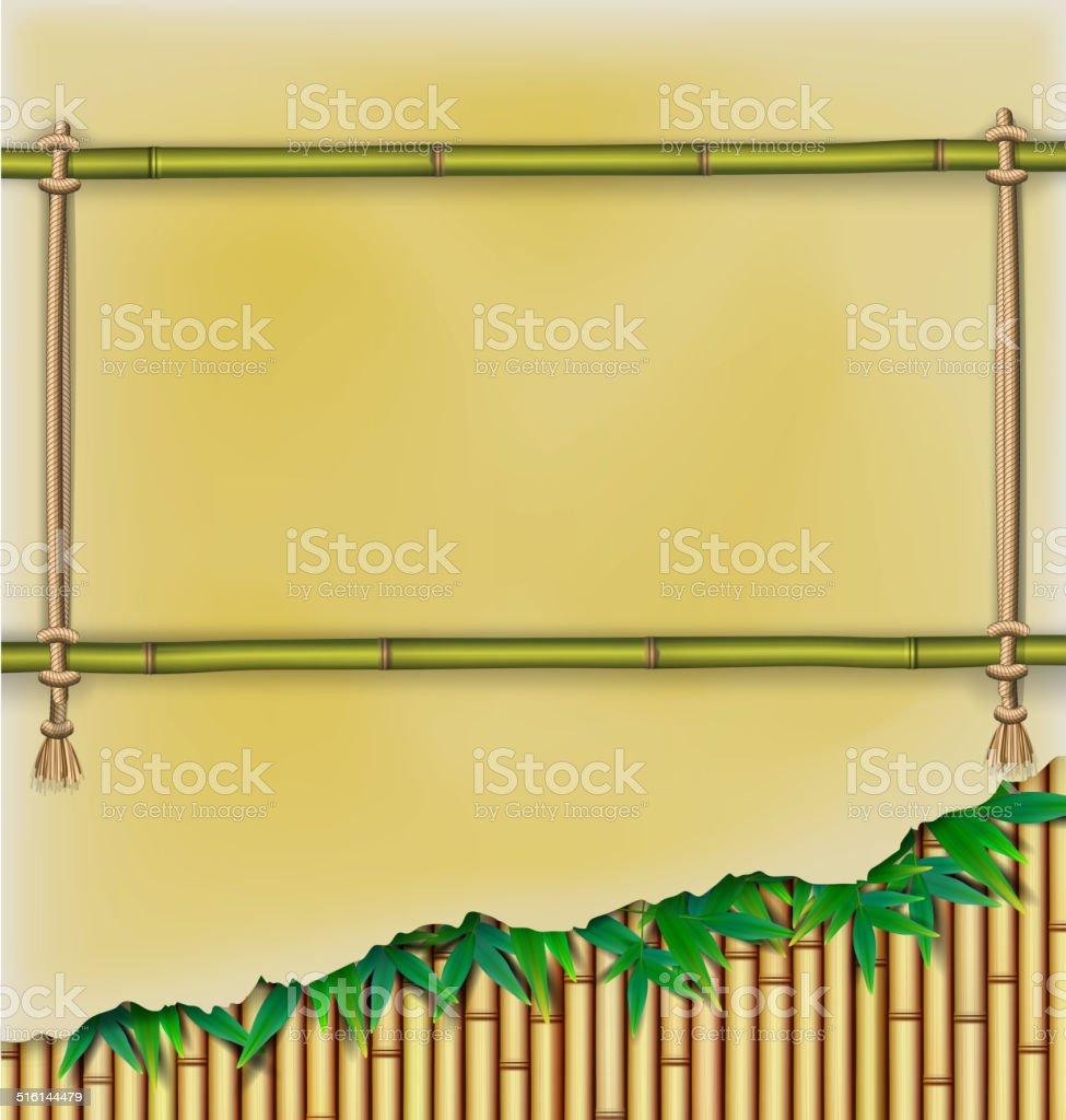 Bambusrahmen Mit Pergament Banner Auf Die Bambushintergrund Vektor ...
