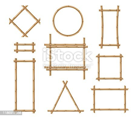 Bamboo frame. Wooden brown bamboo stick square and round border frames tied by ropes in japanese and chinese style vector isolated board nature mockups
