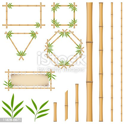 Bamboo frames made of yellow bamboo. Pieces and leaves of bamboo. Cartoon vector illustration of bamboo.