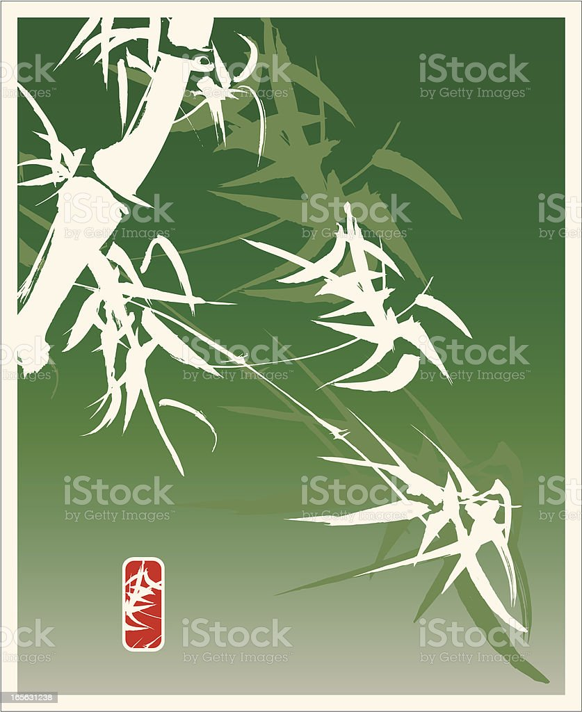 Bamboo in the Wind - Calligraphy and Painting royalty-free stock vector art
