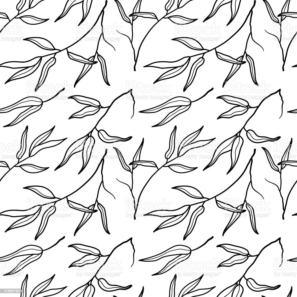 Bamboo leaf black and white seamless pattern background vector art illustration