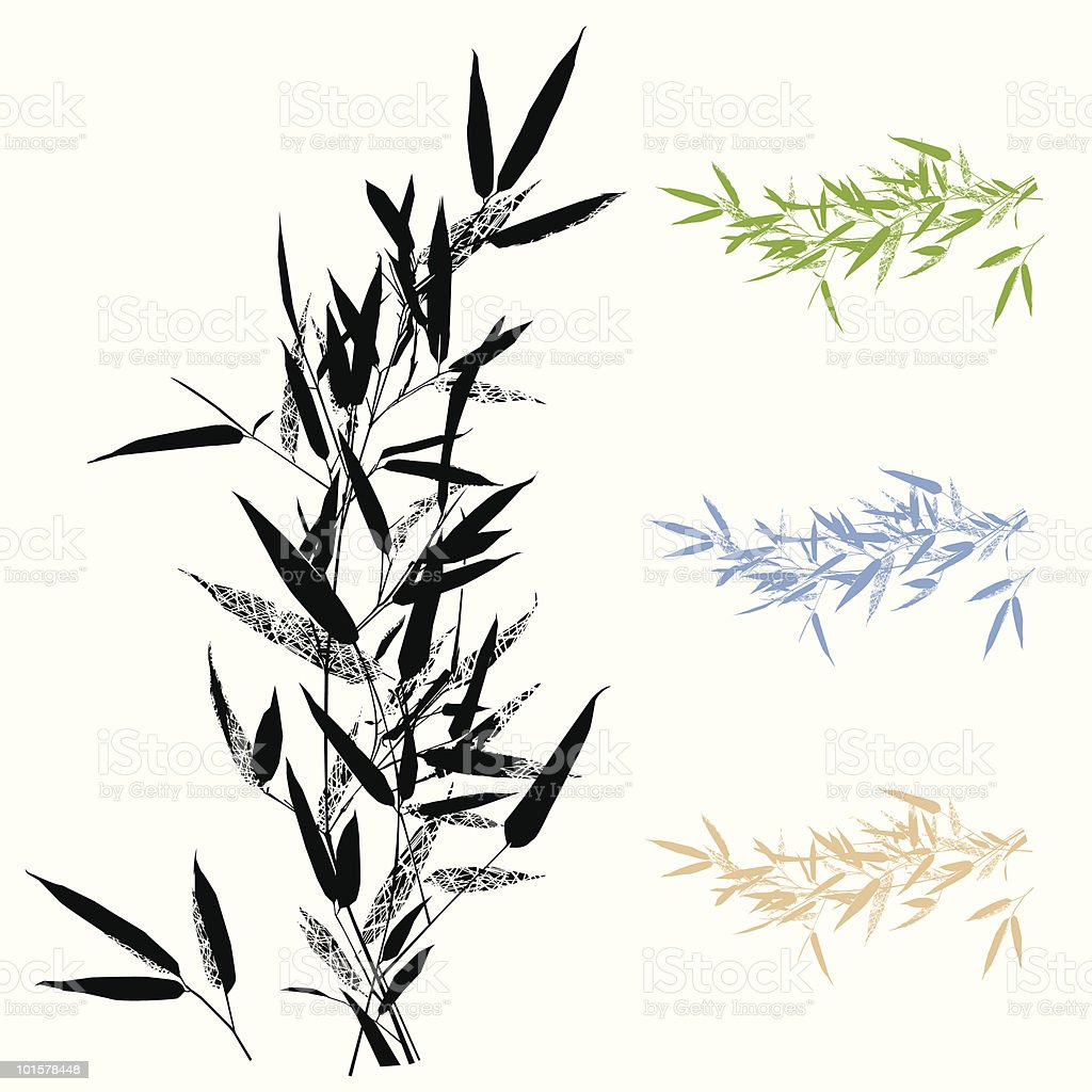 Bamboo Leafs Branch -Design Element vector art illustration