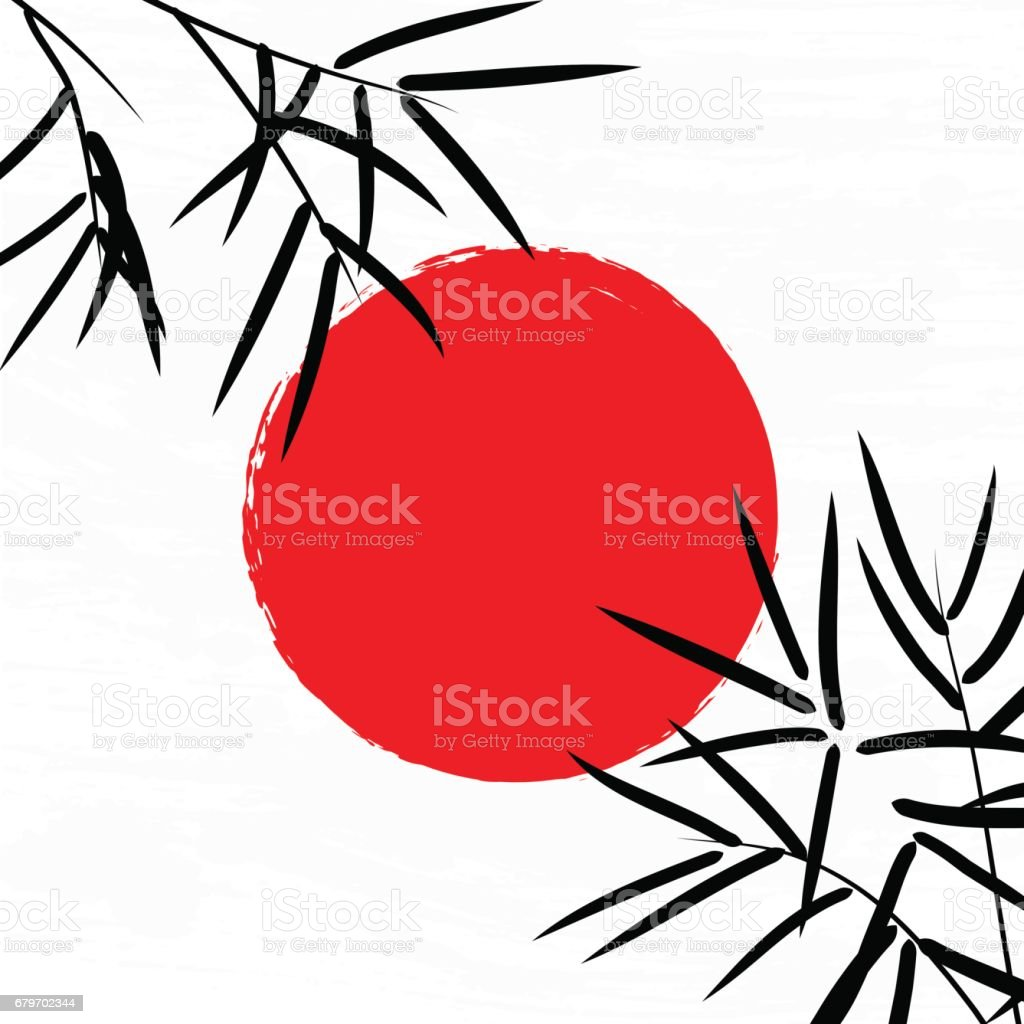 Bamboo leaves with sun and space for your text. vector art illustration