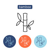 Bamboo material outline icons set.