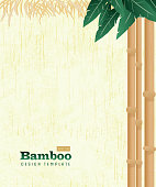 Retro wooden Summer Tiki Bamboo shutes on natural background poster advertisement design template. Cute a  cute Tiki style background which includes sample text design, hawaiian, tiki, asian themes. Natural or on a summery background.  Easy to edit printable with layers. Vector illustration royalty free. Lot's of texture and vintage Hawaiian style.
