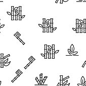 Bamboo Nature Plant Vector Seamless Pattern Thin Line Illustration