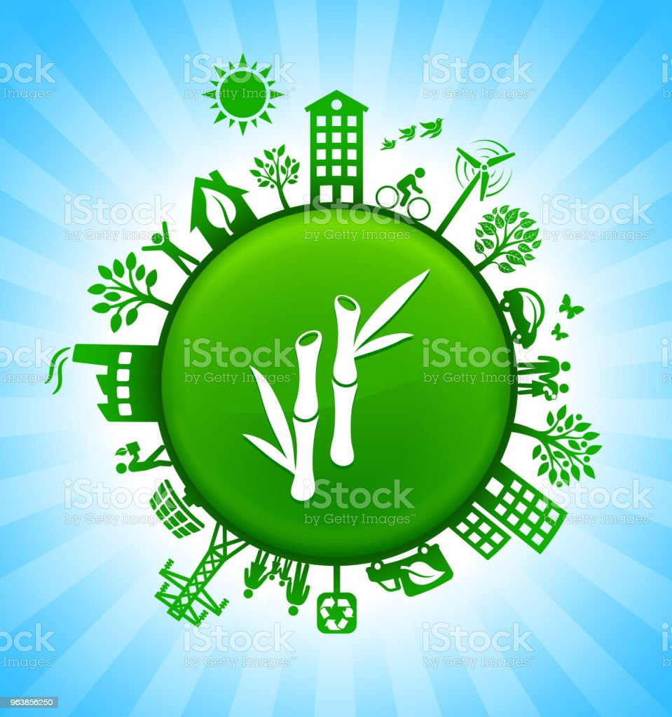 Bamboo Plant Environment Green Button Background on Blue Sky - Royalty-free Alternative Energy stock vector