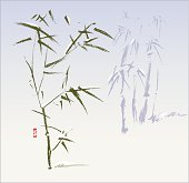 Frozen bamboo plants in the cold winter, an oriental style painting