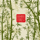 Bamboo rain forest vector wallpaper in japanese and chinese art style