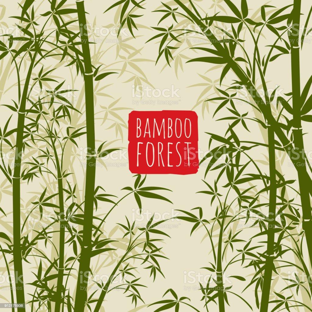 Bambus Regenwald Vektor Tapete im Kunststil japanischer und chinesischer – Vektorgrafik