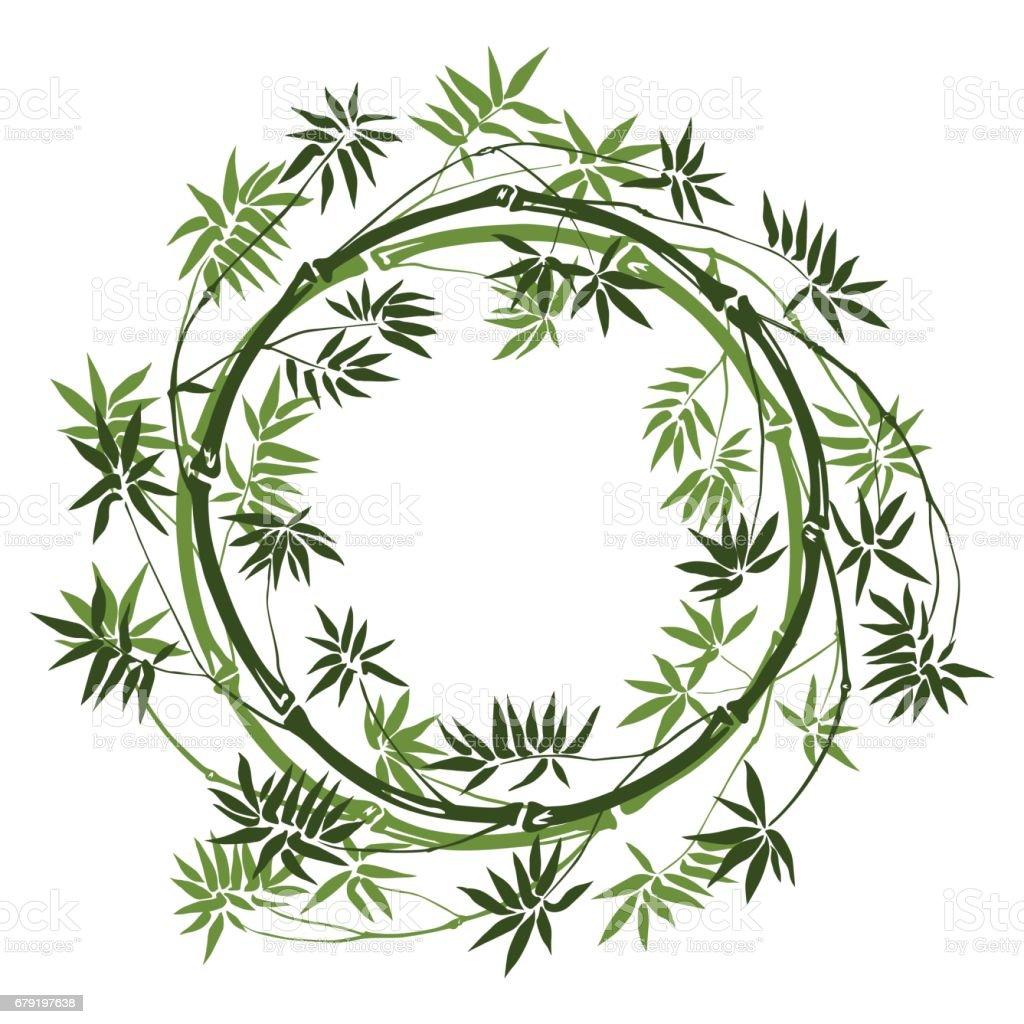 Bamboo round frame vector art illustration