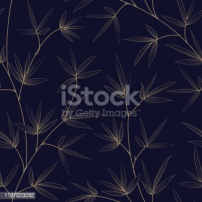 Bamboo seamless patterm, great design for any design. Seamless floral pattern. Japanese style texture for your botanical illustration. Vector illutration.