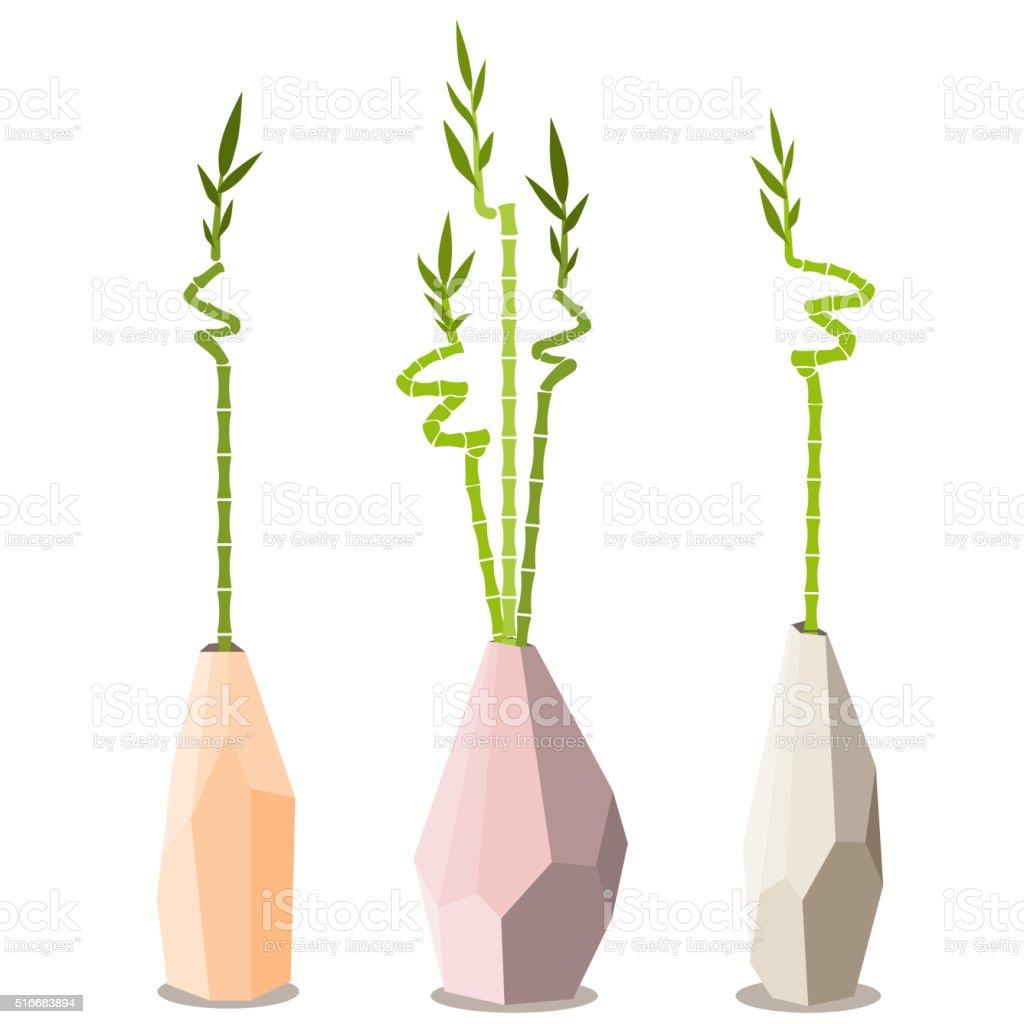 Tiges De Bambou Dans Un Vase Sur Fond Blanc Cliparts Vectoriels Et