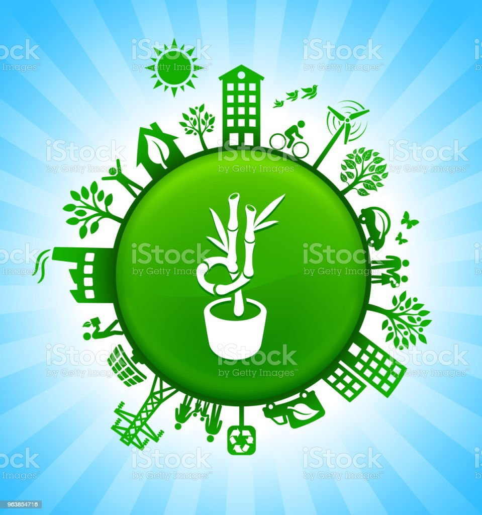 Bamboo Tree Environment Green Button Background on Blue Sky - Royalty-free Alternative Energy stock vector