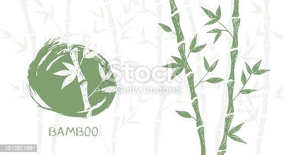 istock Bamboo tree. Hand drawn style. Vector illustrations. 1312627691