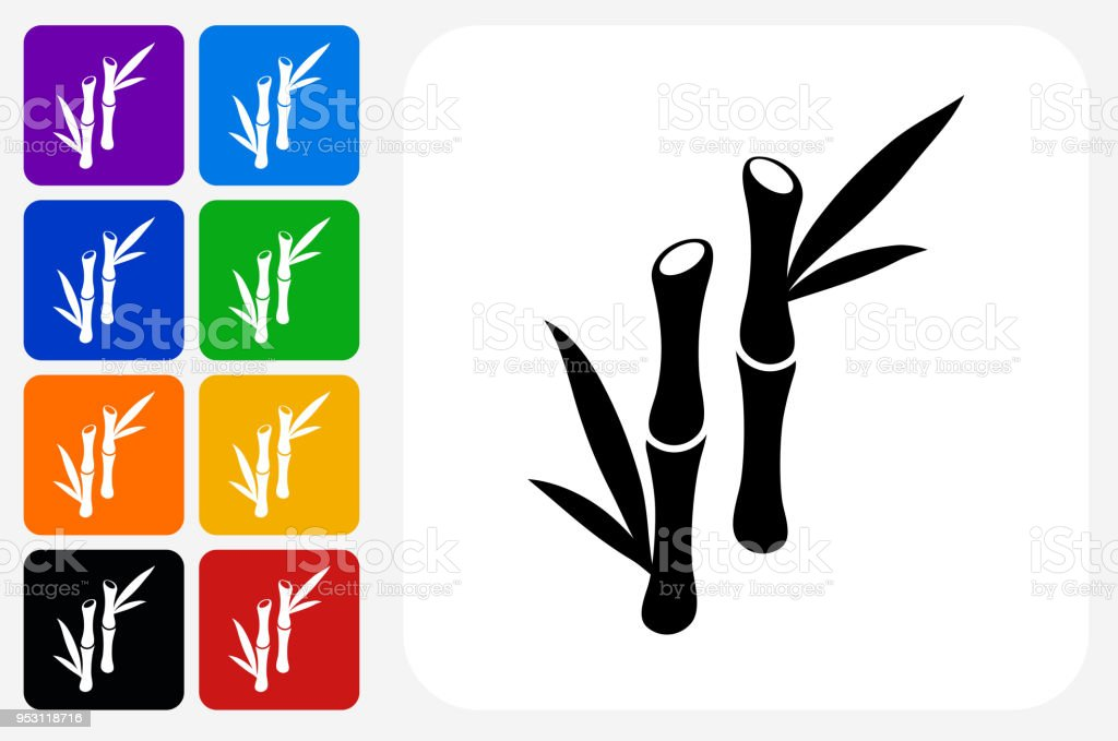 Bamboo Tree Icon Square Button Set vector art illustration