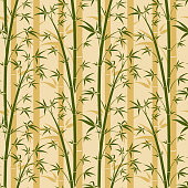 Bamboo tree vector seamless background. Bamboo plant pattern with leaf illustration