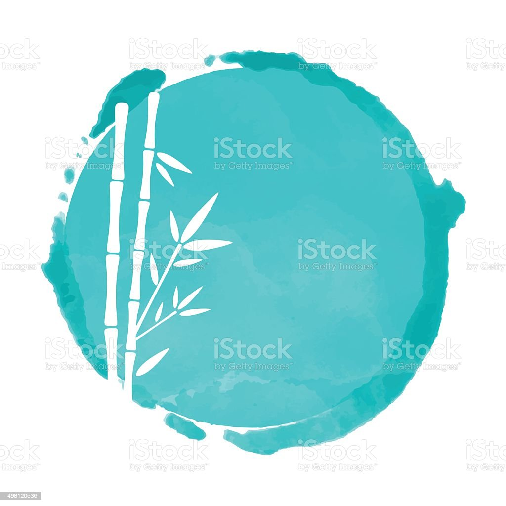 Bamboo trees and blue watercolor circle vector art illustration