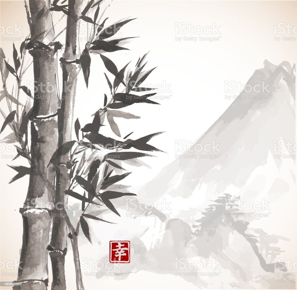 Bamboo trees and high mountains vector art illustration