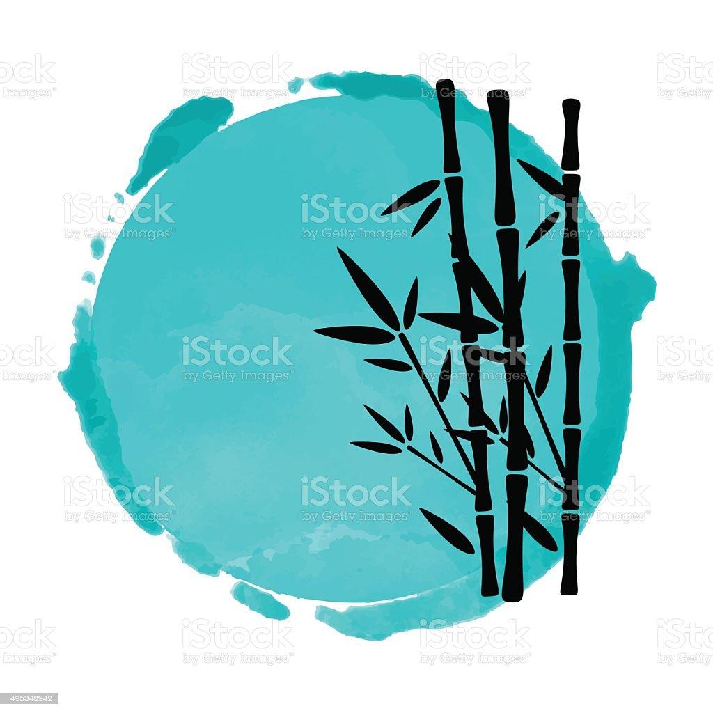 Bamboo trees and watercolor circle vector art illustration