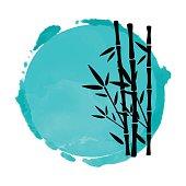 Bamboo trees and watercolor circle