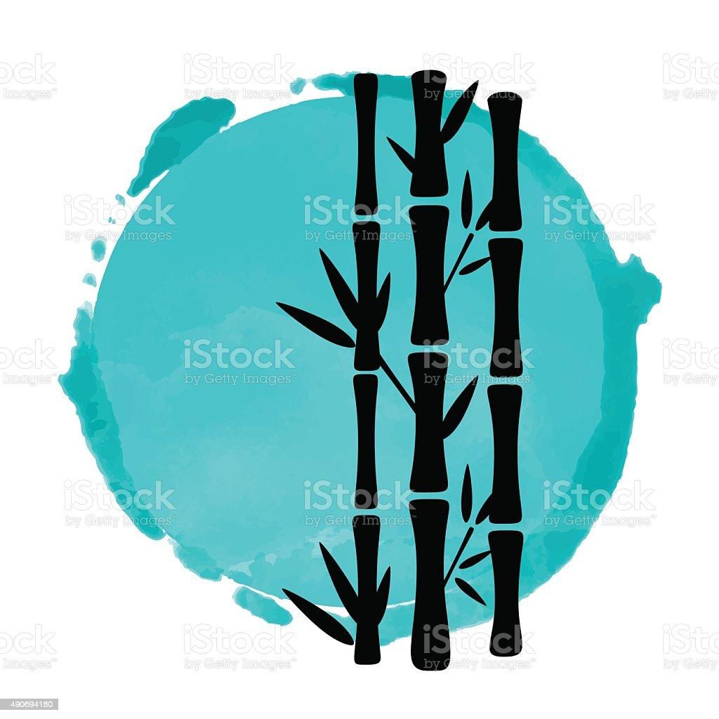 Bamboo trees and watercolor vector art illustration