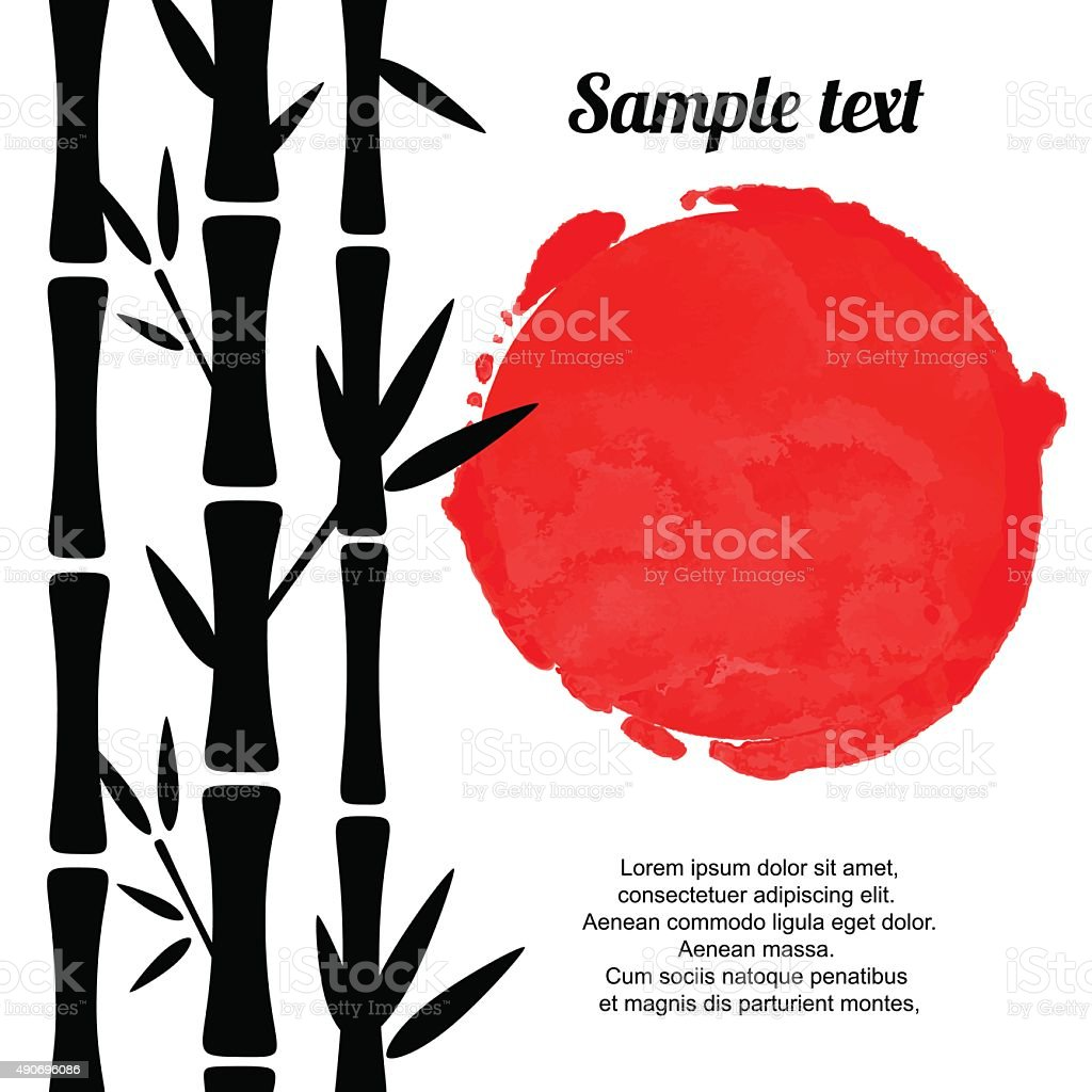 Bamboo trees black silhouettes and red watercolor vector art illustration