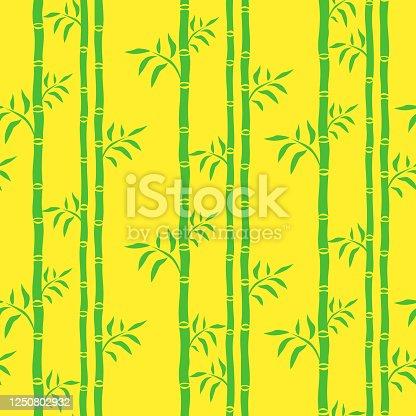 istock Bamboo trees cartoon seamless pattern green vector 1250802932