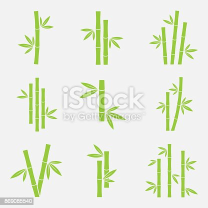 Bamboo vector icon set isolated on a white background. Silhouettes of bamboo trunks, stems, or trees with leaves. Green symbols tropical bamboo.