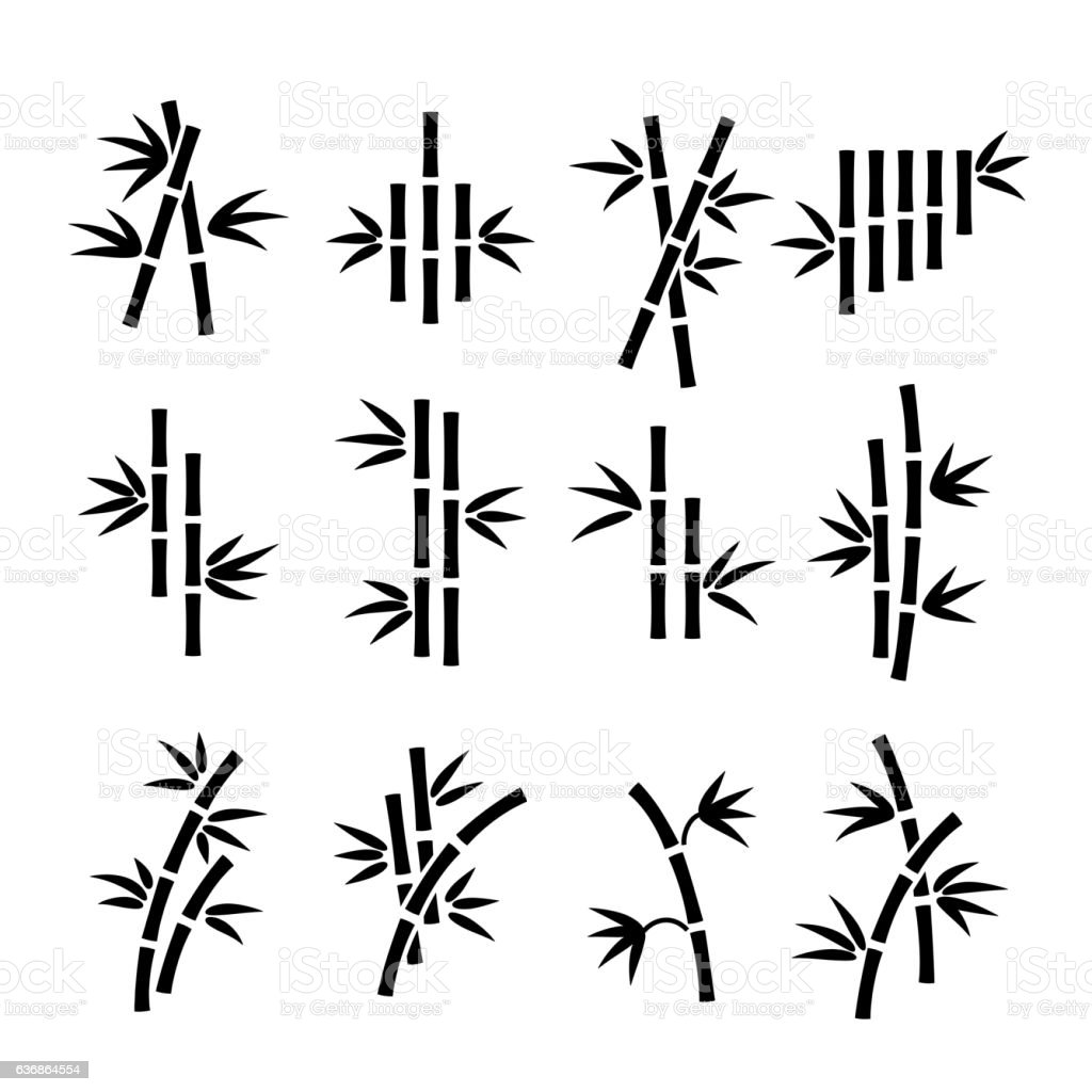 Bamboo vector icons向量藝術插圖
