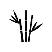 Bamboo icon with leaves silhouette isolated on white background. Vector illustration