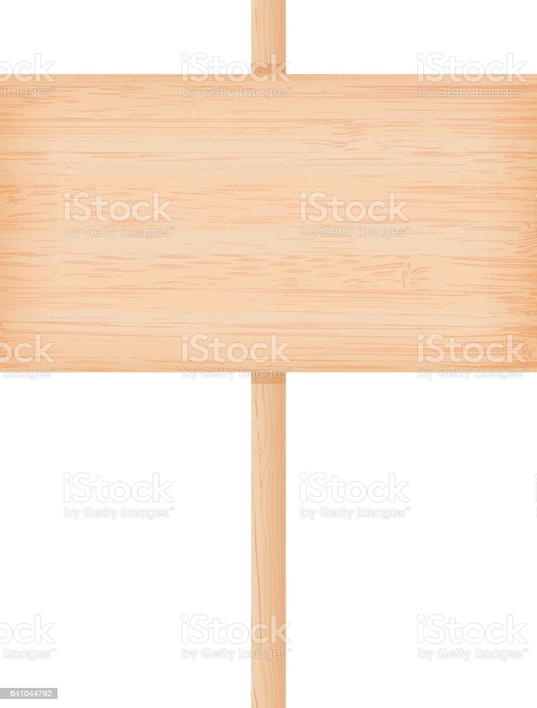 Bamboo wooden signboard on a pole vector art illustration