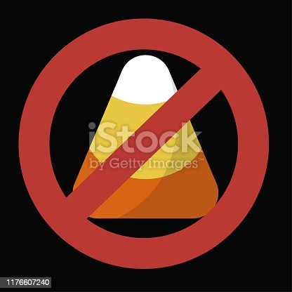 Ban candy corn - not allowed graphic vector for Halloween