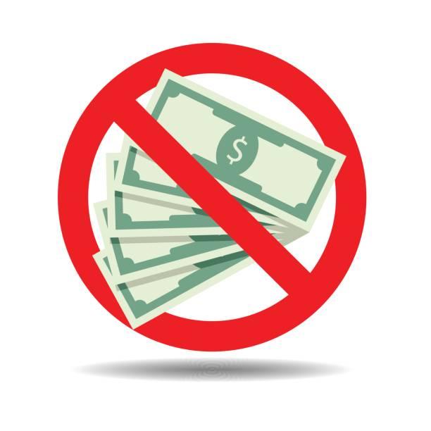ban cash payment - dollar bill stock illustrations