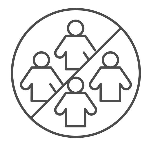 禁止收集人細線圖示。社會分離符號,白色背景輪廓樣式象形圖。避免為移動概念和網頁設計而出現人群簽名。向量圖形。 - 疫病預防 幅插畫檔、美工圖案、卡通及圖標