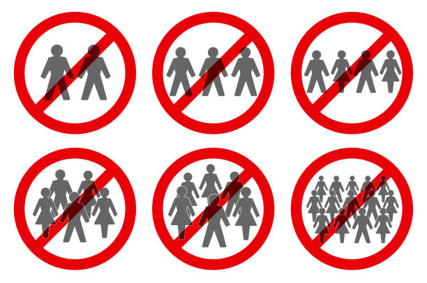 Ban on gathering symbols. Prohibition of assembly for two, three, four, five, six or more people. Isolated vector illustration on white background. vector art illustration