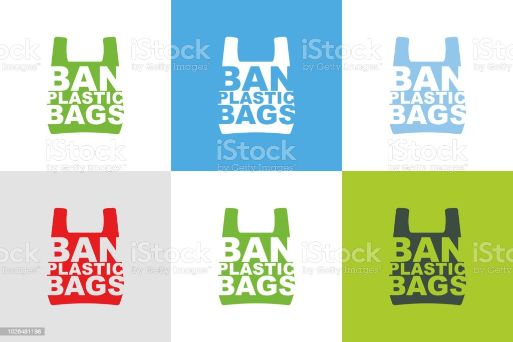 Ban plastic bags slogan design collection of different color combination. Pollution problem concept. Cellophane and polythene package prohibition sign for stores and shops.Vector illustration isolated vector art illustration